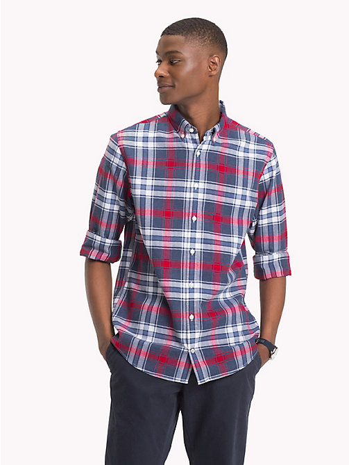 TOMMY HILFIGER Plaid Check Herringbone Shirt - MEDIEVAL BLUE / HAUTE RED - TOMMY HILFIGER Casual Shirts - detail image 1