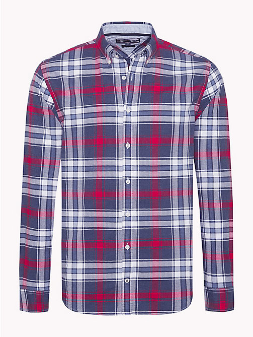 TOMMY HILFIGER Plaid Check Herringbone Shirt - MEDIEVAL BLUE / HAUTE RED - TOMMY HILFIGER Casual Shirts - main image