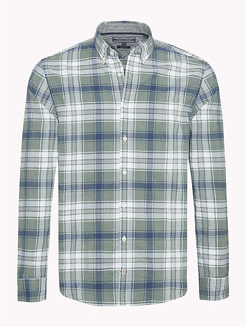 TOMMY HILFIGER Plaid Check Herringbone Shirt - ROSIN / MEDIEVAL BLUE - TOMMY HILFIGER Casual Shirts - main image