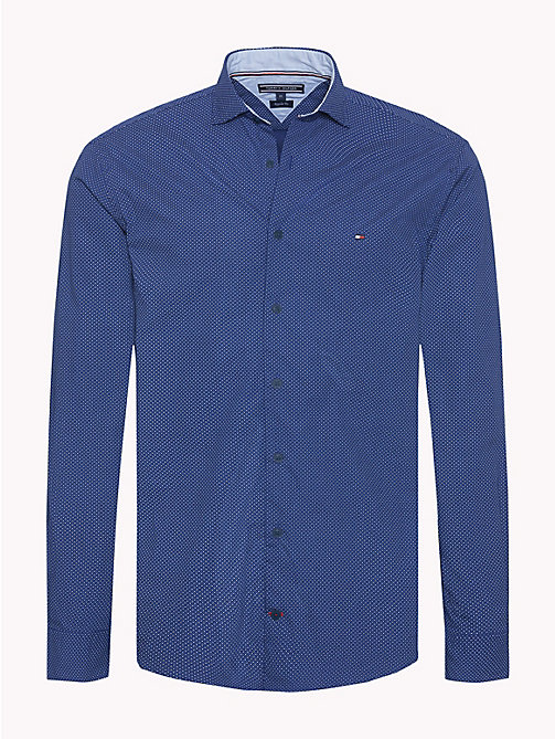 TOMMY HILFIGER Diamond Print Cotton Shirt - BLUE DEPTHS / BLUE LOLITE - TOMMY HILFIGER Casual Shirts - main image