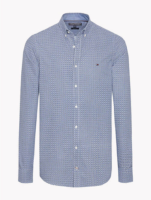 TOMMY HILFIGER Slim Fit Micro Print Shirt - MEDIEVAL BLUE / DUSTY OLIVE - TOMMY HILFIGER Casual Shirts - main image