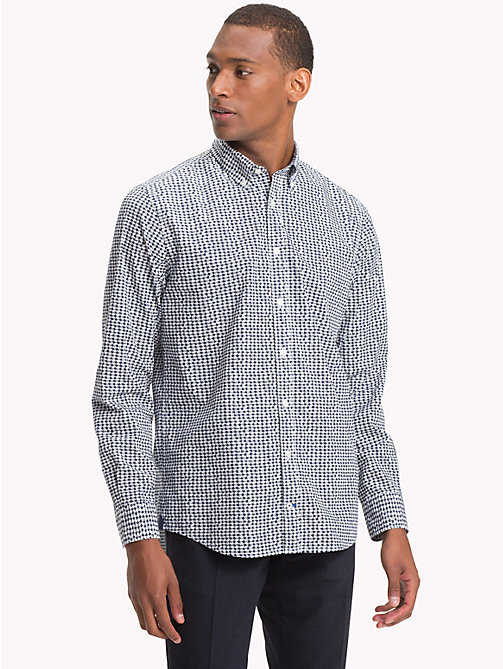TOMMY HILFIGER Houndstooth Print Cotton Shirt - WHISPER WHITE / BLACK IRIS - TOMMY HILFIGER NEW IN - detail image 1