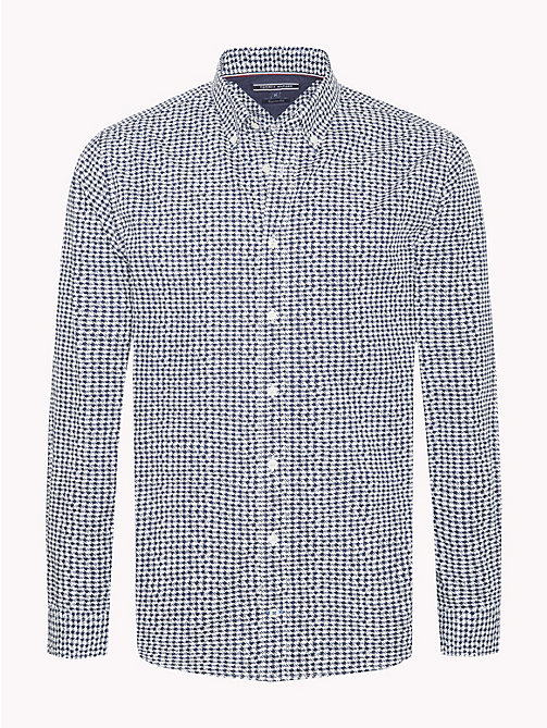 TOMMY HILFIGER Houndstooth Print Cotton Shirt - WHISPER WHITE / BLACK IRIS - TOMMY HILFIGER NEW IN - main image