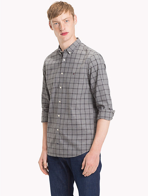 TOMMY HILFIGER Windowpane Check Slim Fit Shirt - CHARCOAL HTR / CLOUD HTR - TOMMY HILFIGER Casual Shirts - detail image 1