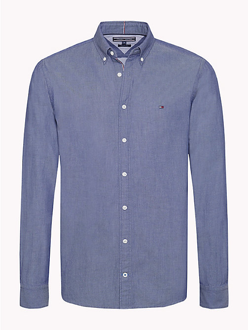 TOMMY HILFIGER Two-Tone Dobby Shirt - MEDIEVAL BLUE - TOMMY HILFIGER Casual Shirts - main image
