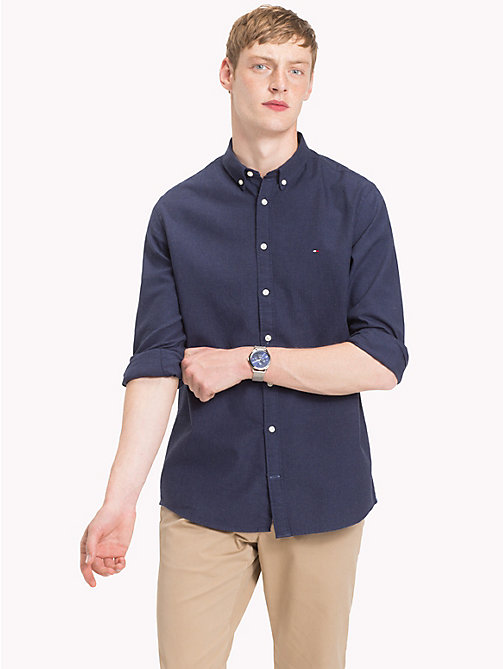 TOMMY HILFIGER Button-Down Herringbone Shirt - BLUE DEPTHS HTR - TOMMY HILFIGER Casual Shirts - detail image 1
