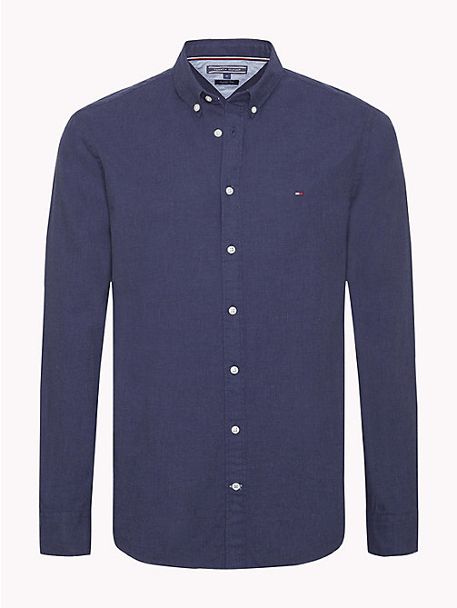 TOMMY HILFIGER Button-Down Herringbone Shirt - BLUE DEPTHS HTR - TOMMY HILFIGER Casual Shirts - main image