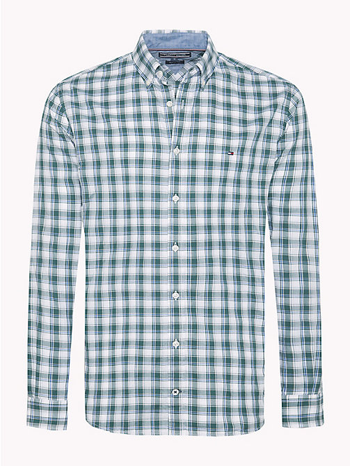 TOMMY HILFIGER Windowpane Check Twill Shirt - RAIN FOREST / BLUE LOLITE - TOMMY HILFIGER Casual Shirts - main image