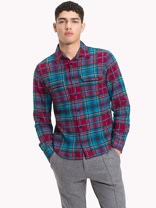 TOMMY HILFIGER Cotton Herringbone Check Shirt - RHUBARB / VIVID BLUE - TOMMY HILFIGER NEW IN - detail image 1