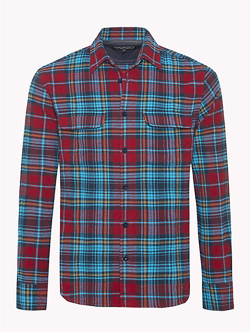 TOMMY HILFIGER Cotton Herringbone Check Shirt - RHUBARB / VIVID BLUE - TOMMY HILFIGER NEW IN - main image