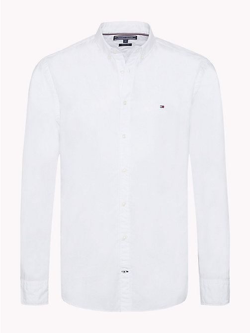 TOMMY HILFIGER Plain Pure Cotton Shirt - BRIGHT WHITE - TOMMY HILFIGER NEW IN - main image