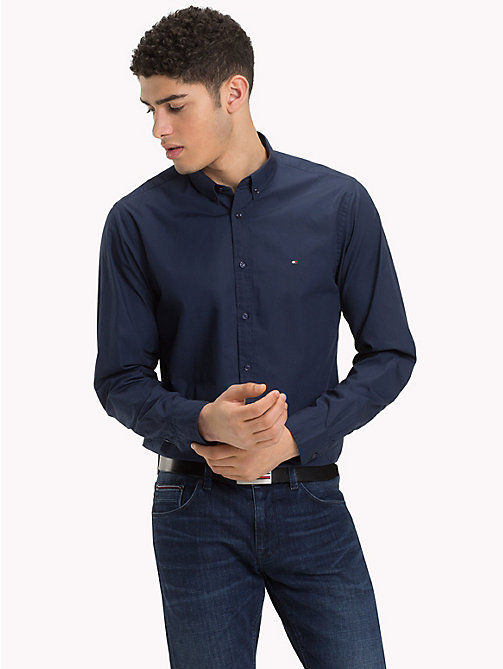 TOMMY HILFIGER Plain Pure Cotton Shirt - BLACK IRIS - TOMMY HILFIGER NEW IN - detail image 1