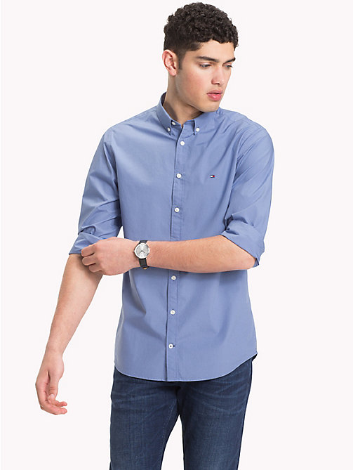 TOMMY HILFIGER Plain Pure Cotton Shirt - COLONY BLUE - TOMMY HILFIGER NEW IN - detail image 1