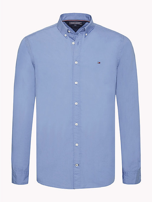 TOMMY HILFIGER Plain Pure Cotton Shirt - COLONY BLUE - TOMMY HILFIGER NEW IN - main image