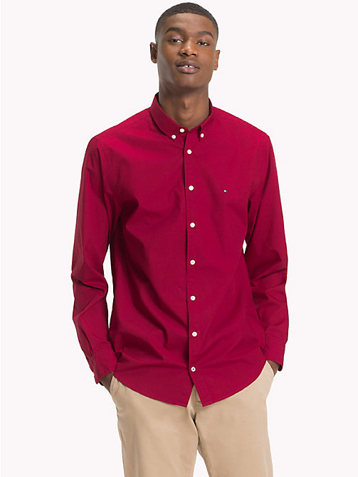 TOMMY HILFIGER Plain Pure Cotton Shirt - RHUBARB - TOMMY HILFIGER NEW IN - detail image 1