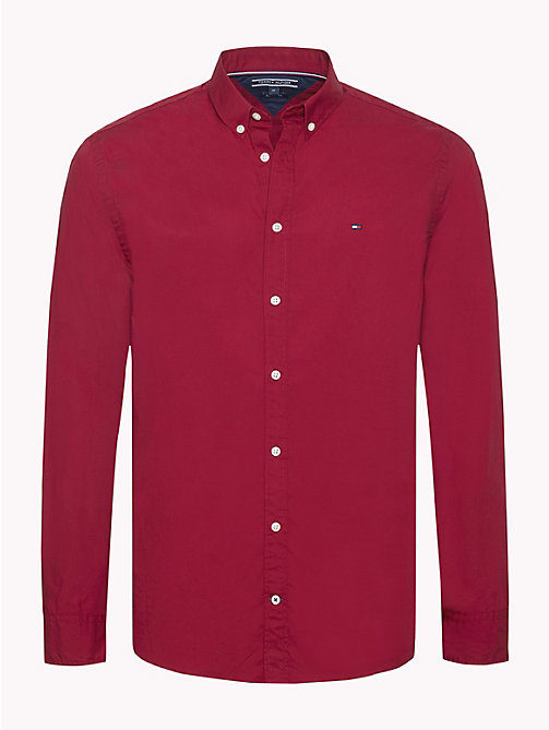 TOMMY HILFIGER Plain Pure Cotton Shirt - RHUBARB - TOMMY HILFIGER NEW IN - main image