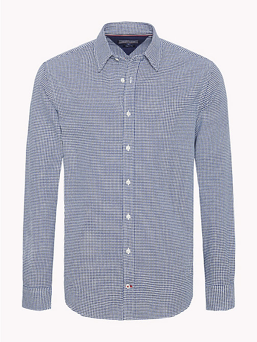 TOMMY HILFIGER Houndstooth Pure Cotton Shirt - BLUE DEPTHS / WHISPER WHITE - TOMMY HILFIGER NEW IN - main image