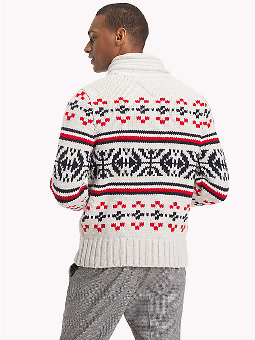 TOMMY HILFIGER Fair Isle Pattern Cardigan - SNOW WHITE HEATHER - TOMMY HILFIGER Clothing - detail image 1
