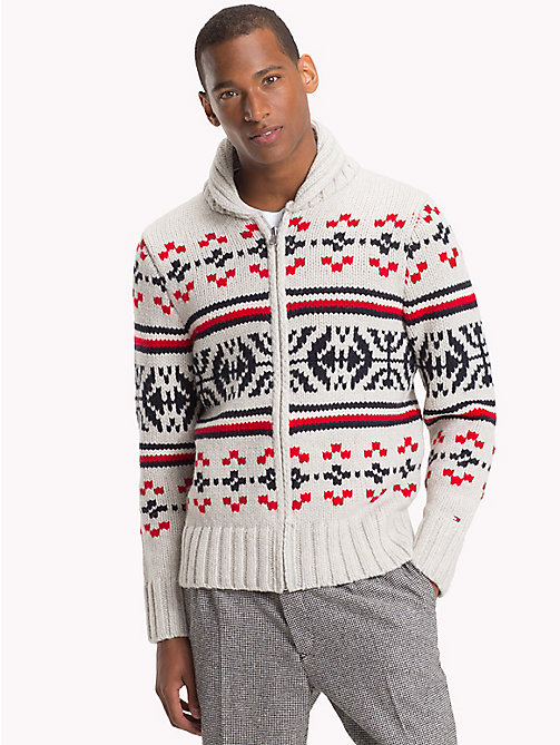 TOMMY HILFIGER Cardigan mit Fair Isle-Muster - SNOW WHITE HEATHER - TOMMY HILFIGER Pullover & Sweatshirts - main image