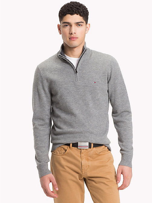 TOMMY HILFIGER Lambswool Half-Zip Pullover - SILVER FOG HTR - TOMMY HILFIGER Winter Warmers - main image