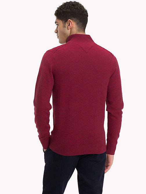 TOMMY HILFIGER Lambswool Half-Zip Pullover - RHUBARB HEATHER - TOMMY HILFIGER NEW IN - detail image 1