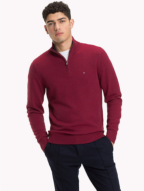 TOMMY HILFIGER Lambswool Half-Zip Pullover - RHUBARB HEATHER - TOMMY HILFIGER Winter Warmers - main image