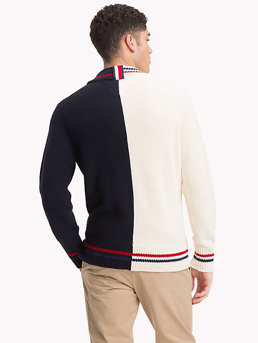 TOMMY HILFIGER Asymmetric Colour-Blocked Jumper - SNOW WHITE - TOMMY HILFIGER NEW IN - detail image 1