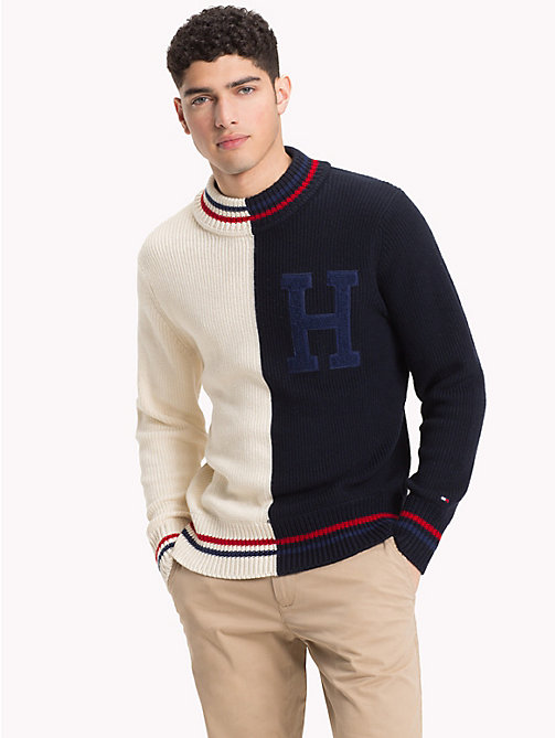 TOMMY HILFIGER Asymmetric Colour-Blocked Jumper - SNOW WHITE - TOMMY HILFIGER NEW IN - main image