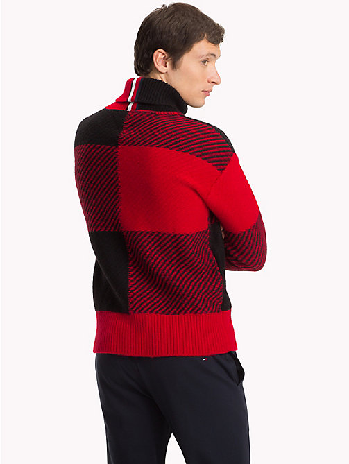 TOMMY HILFIGER Buffalo Check Oversized Sweater - HAUTE RED - TOMMY HILFIGER NEW IN - detail image 1