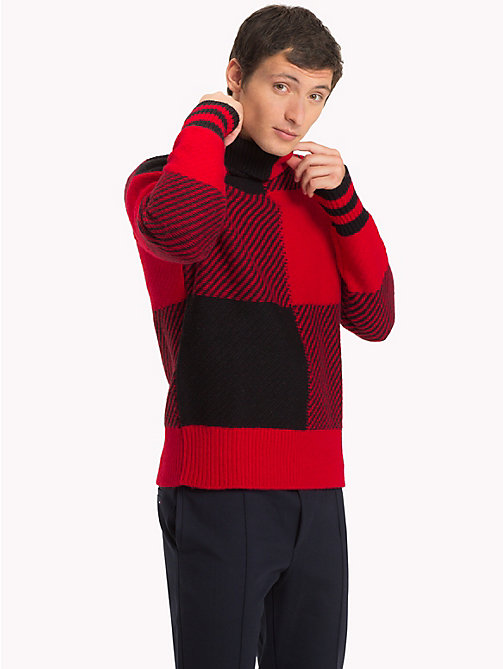 TOMMY HILFIGER Buffalo Check Oversized Sweater - HAUTE RED - TOMMY HILFIGER Sweatshirts & Knitwear - main image