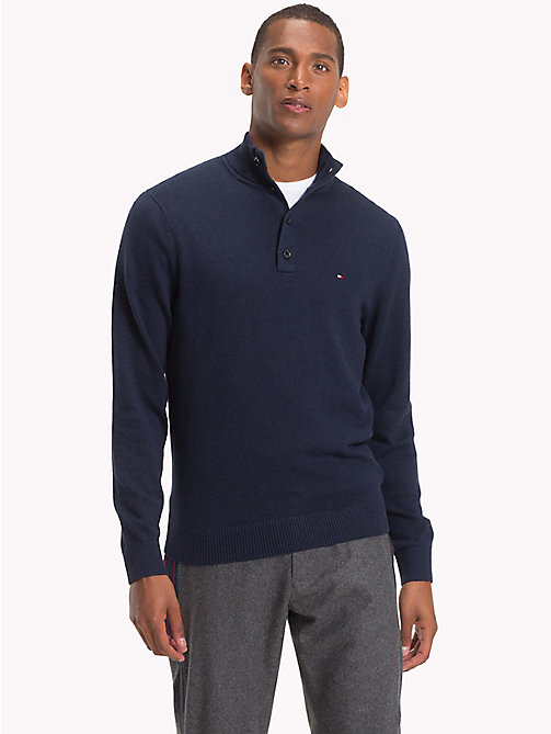 TOMMY HILFIGER Cotton Cashmere Button-Neck Pullover - SKY CAPTAIN HEATHER - TOMMY HILFIGER Jumpers - main image