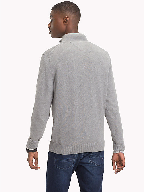 TOMMY HILFIGER Cotton Cashmere Button-Neck Pullover - SILVER FOG HTR - TOMMY HILFIGER Jumpers - detail image 1