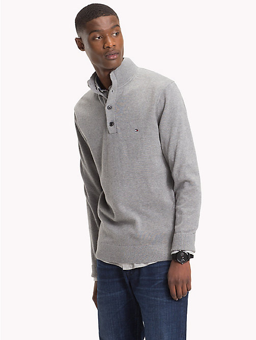 TOMMY HILFIGER Cotton Cashmere Button-Neck Pullover - SILVER FOG HTR - TOMMY HILFIGER Jumpers - main image