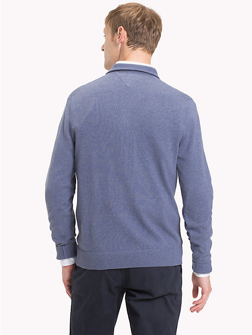 TOMMY HILFIGER Cotton Cashmere Button-Neck Pullover - VINTAGE INDIGO HTR - TOMMY HILFIGER Jumpers - detail image 1
