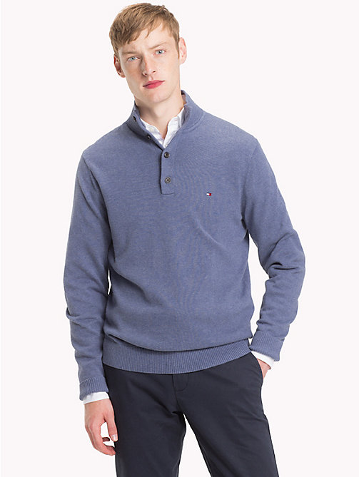 TOMMY HILFIGER Cotton Cashmere Button-Neck Pullover - VINTAGE INDIGO HTR - TOMMY HILFIGER Jumpers - main image