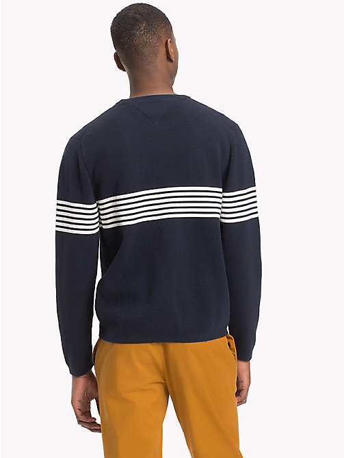 TOMMY HILFIGER Chest Stripe Crew Neck Jumper - SKY CAPTAIN - TOMMY HILFIGER NEW IN - detail image 1