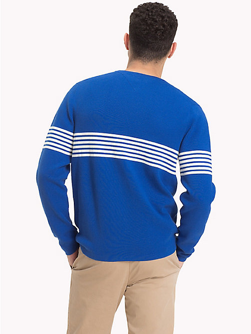 TOMMY HILFIGER Chest Stripe Crew Neck Jumper - BLUE LOLITE - TOMMY HILFIGER NEW IN - detail image 1