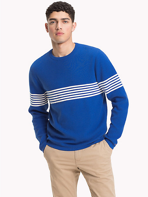 TOMMY HILFIGER Chest Stripe Crew Neck Jumper - BLUE LOLITE - TOMMY HILFIGER NEW IN - main image