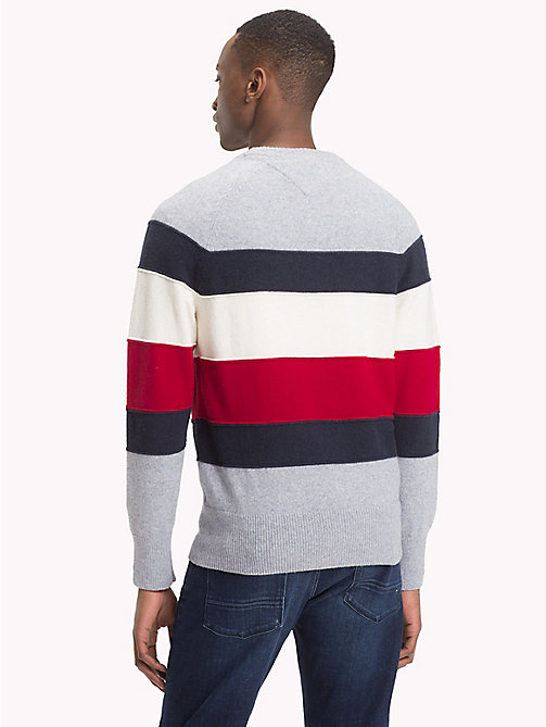 TOMMY HILFIGER Colour-Blocked Crew Neck Jumper - QUICKSILVER HEATHER - TOMMY HILFIGER NEW IN - detail image 1