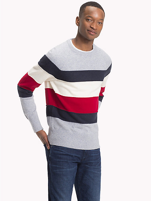 TOMMY HILFIGER Colour-Blocked Crew Neck Jumper - QUICKSILVER HEATHER - TOMMY HILFIGER NEW IN - main image