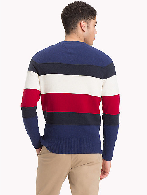 TOMMY HILFIGER Colour-Blocked Crew Neck Jumper - BLUE DEPTHS HTR - TOMMY HILFIGER NEW IN - detail image 1