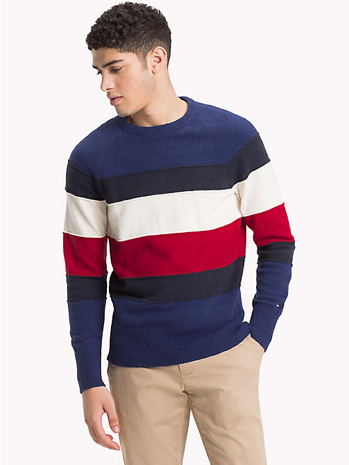 TOMMY HILFIGER Colour-Blocked Crew Neck Jumper - BLUE DEPTHS HTR - TOMMY HILFIGER NEW IN - main image