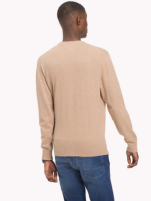 TOMMY HILFIGER Cotton Cashmere Crew Neck Jumper - BATIQUE KHAKI HEATHER - TOMMY HILFIGER Jumpers - detail image 1