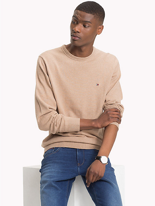 TOMMY HILFIGER Cotton Cashmere Crew Neck Jumper - BATIQUE KHAKI HEATHER - TOMMY HILFIGER Jumpers - main image