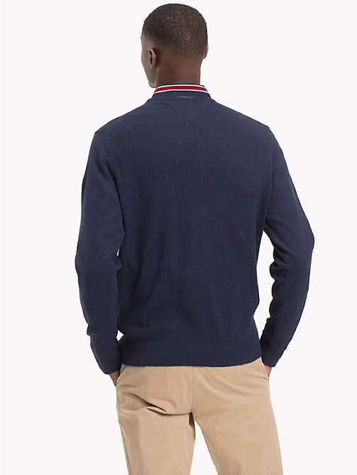 TOMMY HILFIGER Cotton Cashmere Crew Neck Jumper - SKY CAPTAIN HEATHER - TOMMY HILFIGER Clothing - detail image 1
