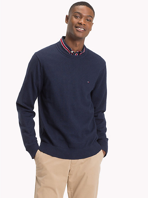 TOMMY HILFIGER Cotton Cashmere Crew Neck Jumper - SKY CAPTAIN HEATHER - TOMMY HILFIGER Clothing - main image