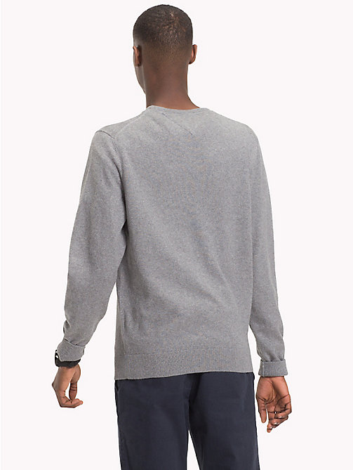 TOMMY HILFIGER Cotton Cashmere Crew Neck Jumper - SILVER FOG HTR -  Clothing - detail image 1