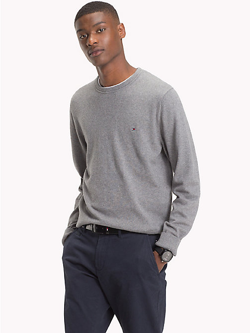 TOMMY HILFIGER Cotton Cashmere Crew Neck Jumper - SILVER FOG HTR -  Clothing - main image