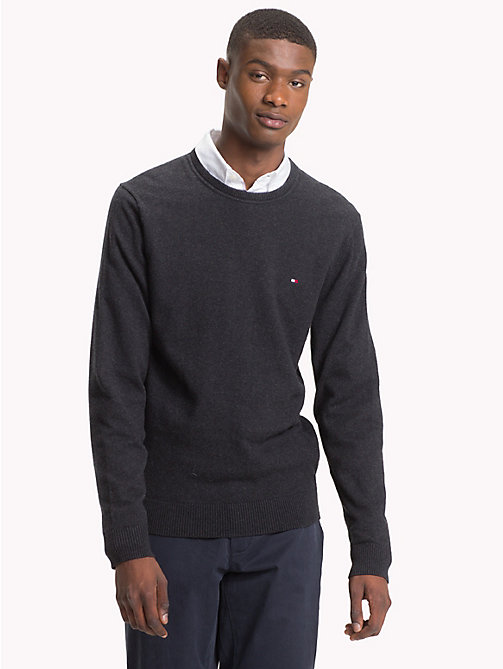 TOMMY HILFIGER Cotton Cashmere Crew Neck Jumper - JET BLACK HEATHER - TOMMY HILFIGER Jumpers - main image