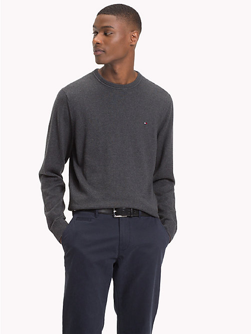 TOMMY HILFIGER Cotton Cashmere Crew Neck Jumper - CHARCOAL HTR - TOMMY HILFIGER Jumpers - main image